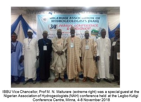 IBBU/CASTER PARTICIPATES IN NIGERIAN ASSOCIATION OF HYDROGEOLOGISTS (NAH) CONFERENCE IN MINNA